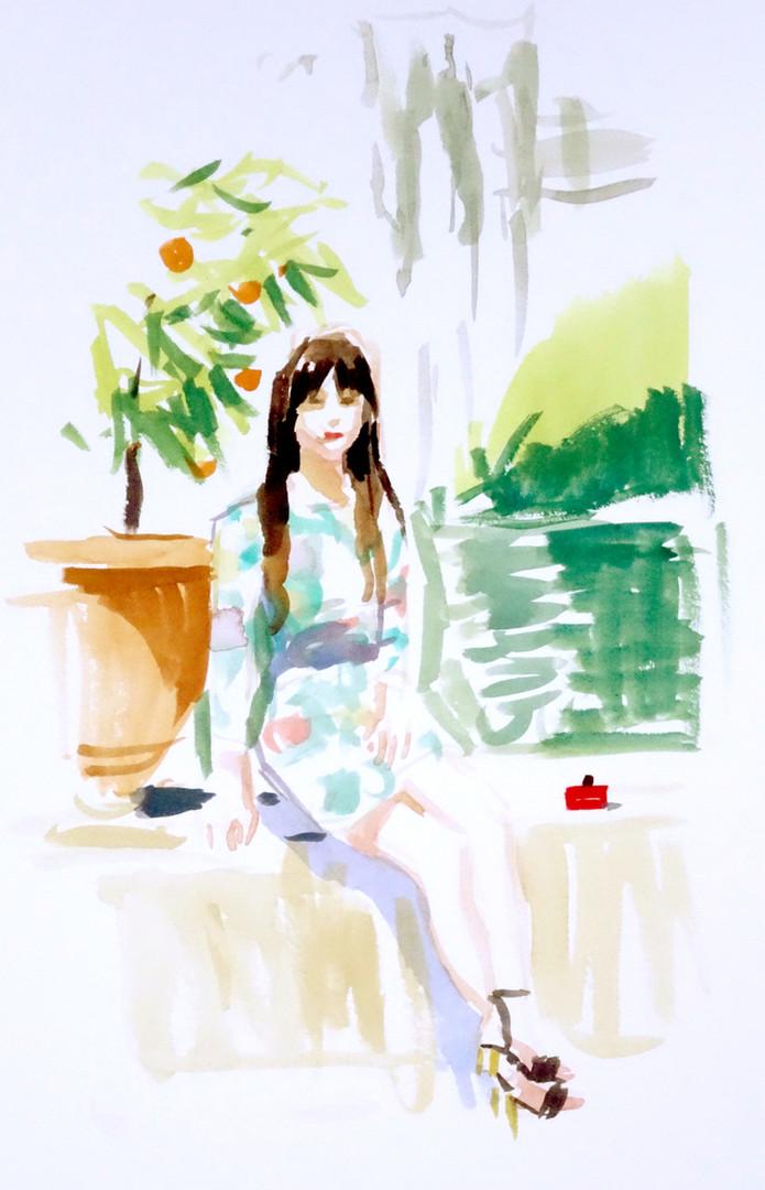 Portrait pour Fendi, gouache sur papier, 27x22cm, 2014