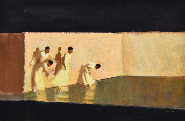 Orphée et Eurydice - les apparitions, huile sur toile, 41x27cm