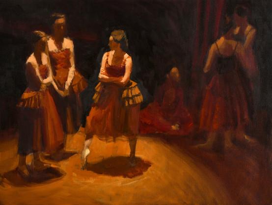 La discussion, huile sur toile, 61x46cm