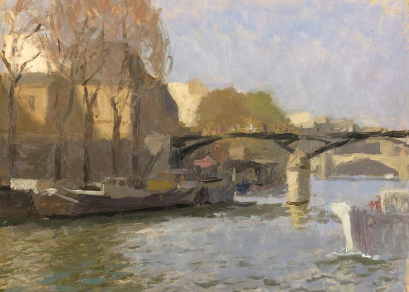 Le pont des arts, huile sur papier,35x27cm