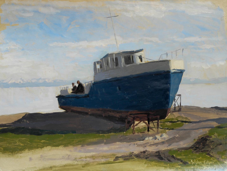 Le bateau de Bolchoï Coty, huile sur papier, 30x40cm, 2010