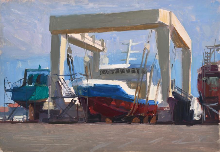 Le chantier naval, huile sur toile, 35x2