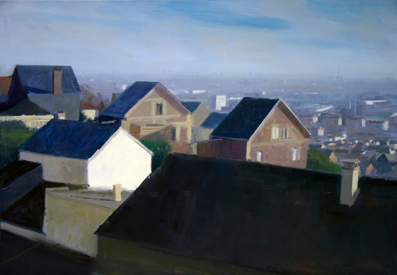 Les toits sur la ville, huile sur toile, 100x70cm