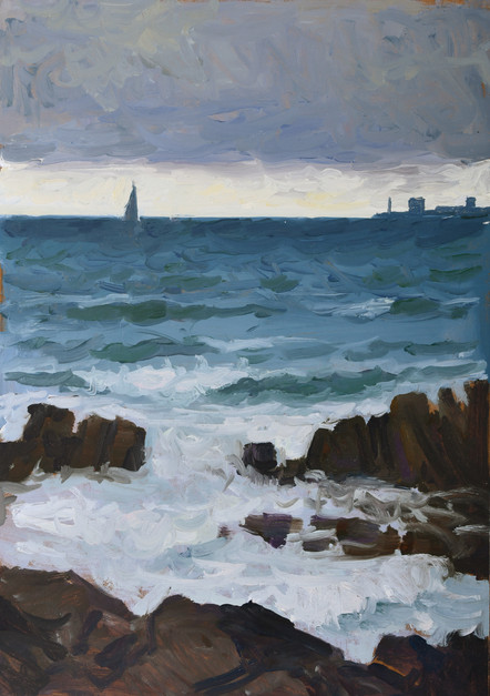 Les silhouettes dans les vagues, huile s