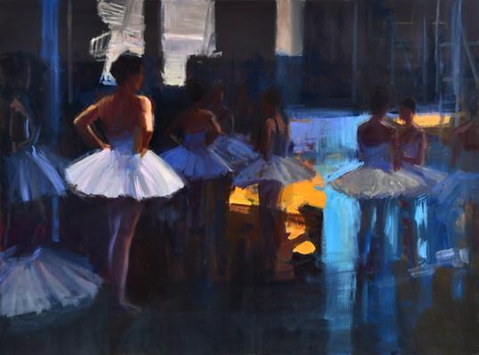 Les danseuses en coulisses, huile sur toile, 81x60cm