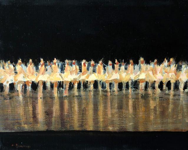 La représentation de l'école de Danse, huile sur toile, 24cm x 19cm, 2015