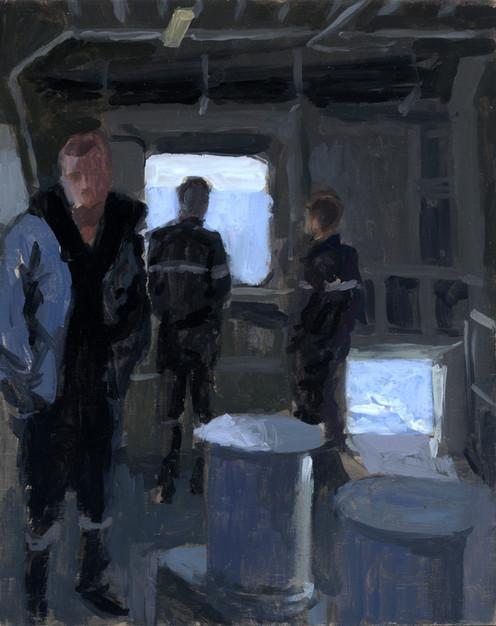 Plage arrière, espace fumeur, huile sur bois, 27x22cm, 2012