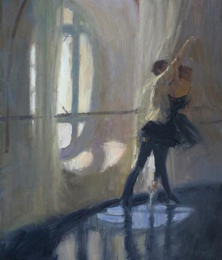 Studio Zambelli- répétition Daphnis et Chloé, huile sur toile, 55cm x 46cm, 2015