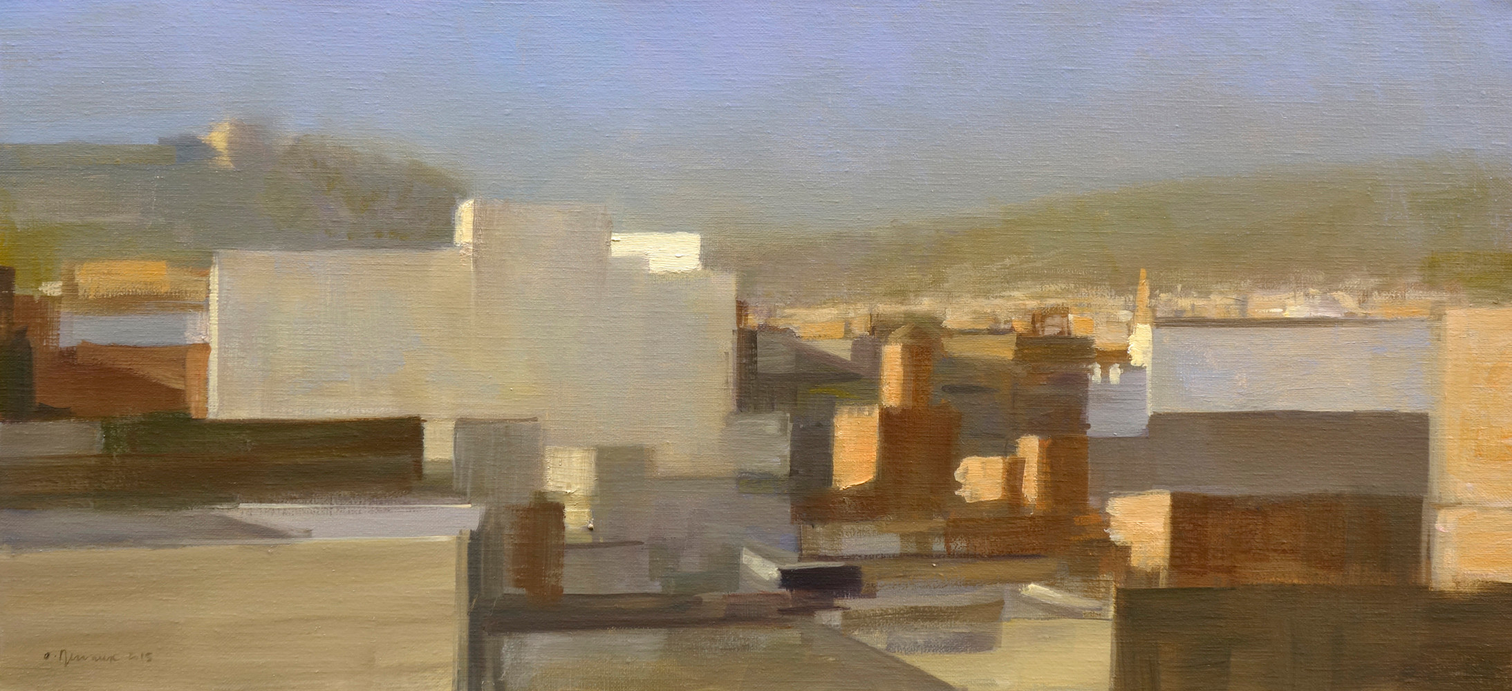 Fès - La ville se lève, huile sur toile, 75x35cm