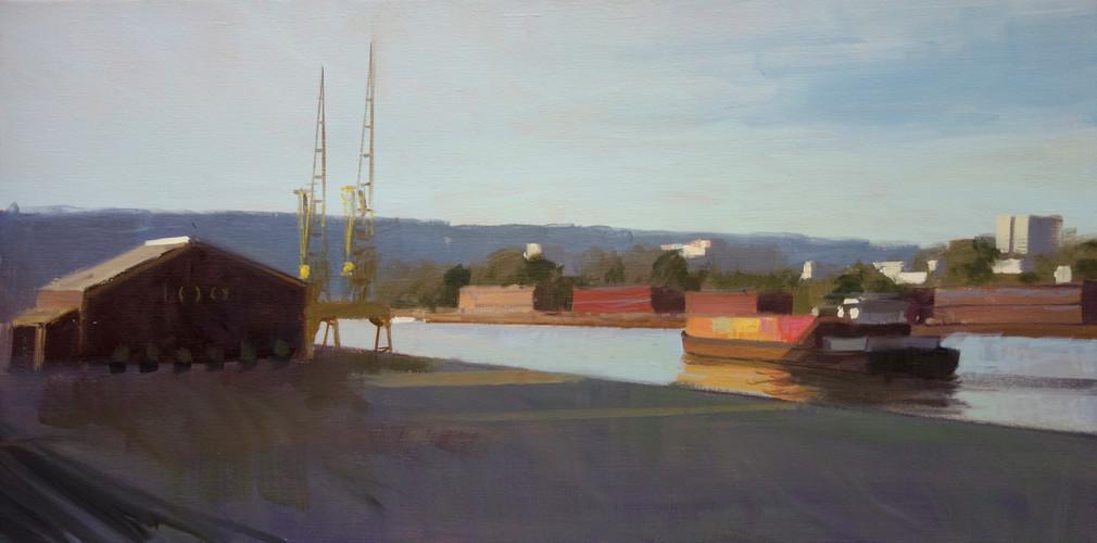 Le 106 et les docks, huile sur toile, 100x50cm.