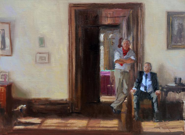 Marc et Alain Boudier, huile sur toile, 35x27cm, 2016