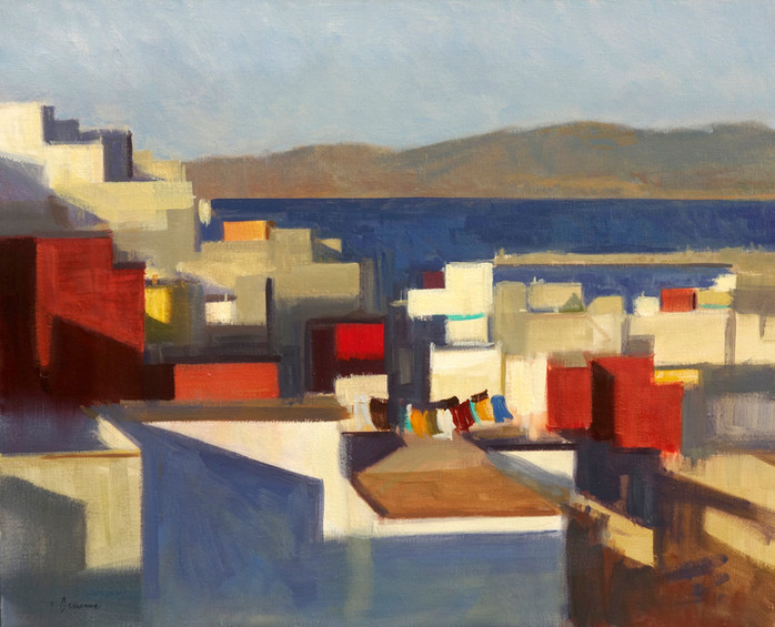 Tanger - les toits mosaïques, huile sur toile, 100x81cm
