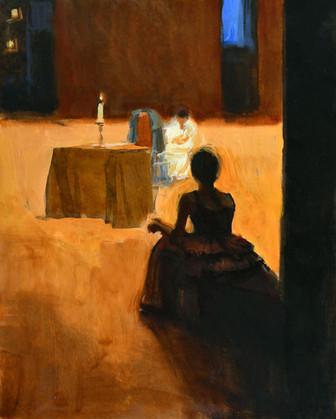 La spectatrice, huile sur toile, 41x33cm