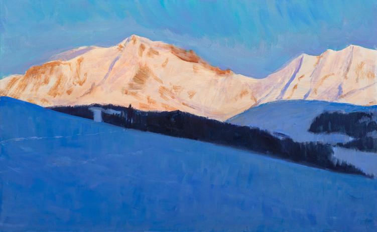 Les dernières lumières du Mont Blanc, huile sur toile, 61x38cm
