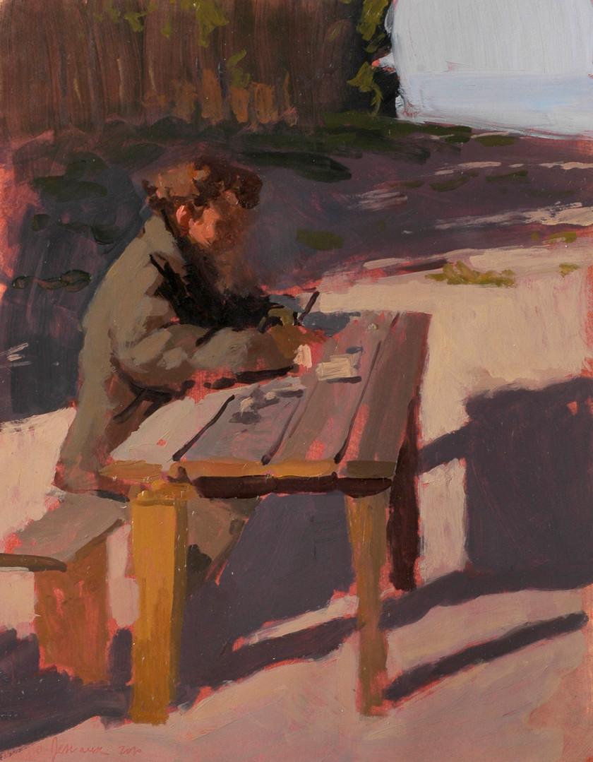 Sylvain Tesson - La table en bois, huile sur papier, 30x40cm, 2010