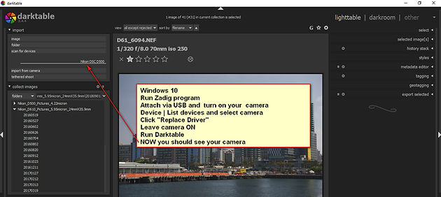 The Darktable Photo Editor, Part 3: Tethered Shooting in Windows 10