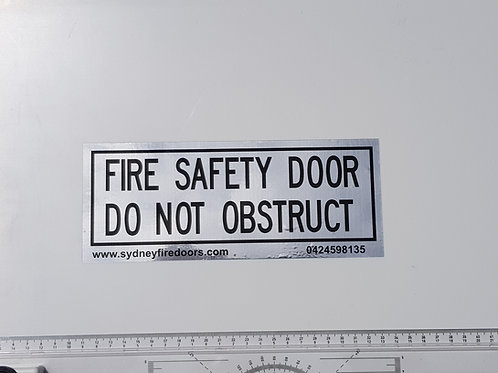 Fire door signage. Brushed silver with SFD website and phone number