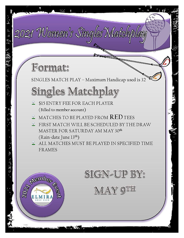 2021 Womens Singles Matchplay poster-pag