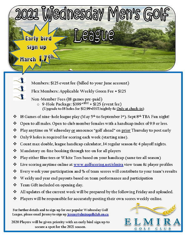 2021 Wednesday Golf League Flyer Revised