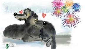 """""""Menschen für Wölfe"""" wünscht mit    kleinem Geschenk einen guten Rutsch ins neue Jahr!"""