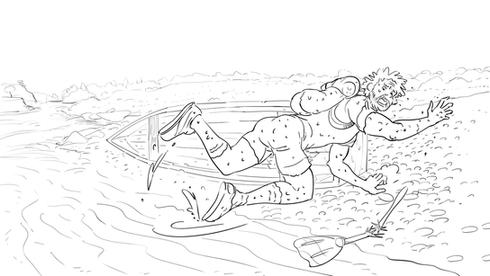 """Storyboard de la bande d'annonce """"Le Relou"""" de Greenweez."""