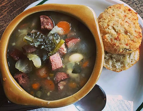 Today's special....smoked sausage and white bean soup with cabbage, kale, and carrots.jpg