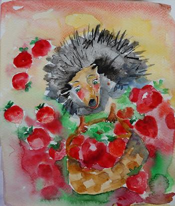 Mansikkapaikka, Akvarelli, 2020