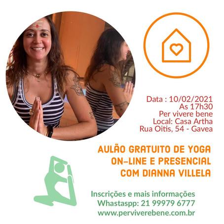 10/02/2021 - Aulão gratuito de yoga com Dianna Villela