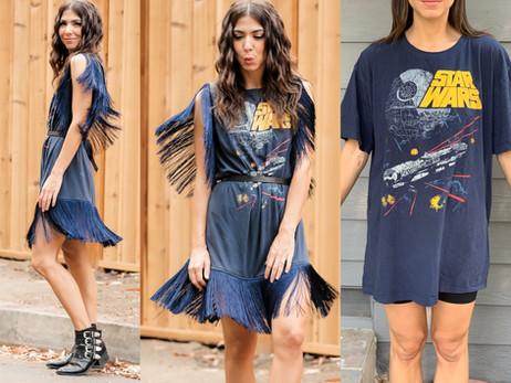 Fringe Dress! T-shirt UPCYCLE