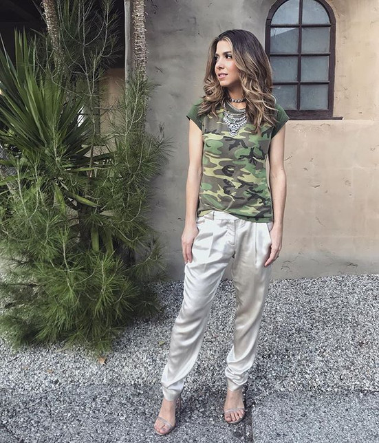 Silk Pants by Mason by Michelle Mason   Vintage Camo Tee by Janey Lopaty Vintage   Heels by Stuart Weitzman   Necklace by Bauble Bar