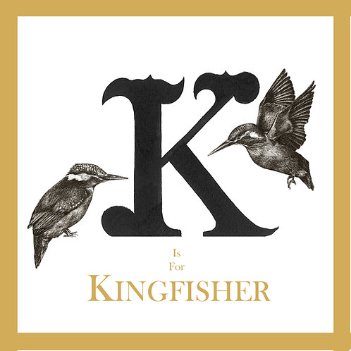 K is for Kingfisher Greetings Card