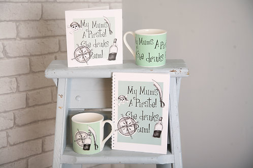 """My mums a pirate she drinks rum"" mug"