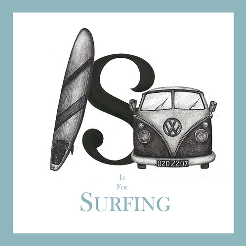 S is for Surfing Greetings Card