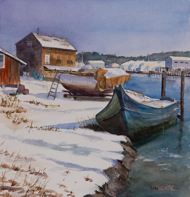 Winter light, Essex boatyard