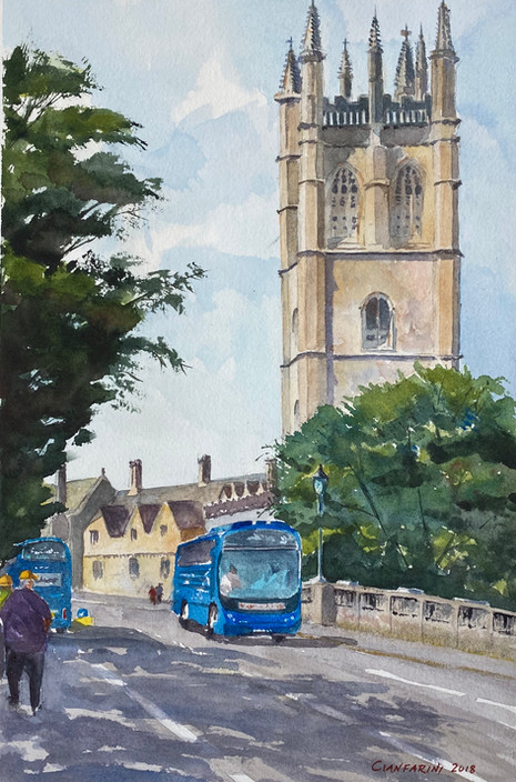 Magdalen Tower and Bridge, Oxford, with Eph