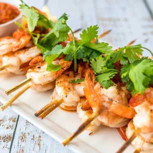 Grilled Shrimp Skewers w/Chermoula Sauce
