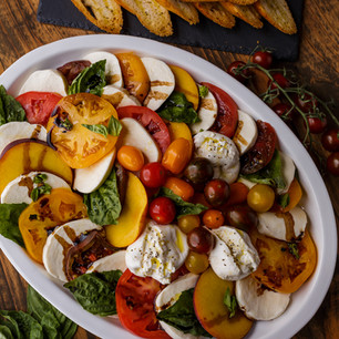 Caprese with Burrata and Fresh Peaches