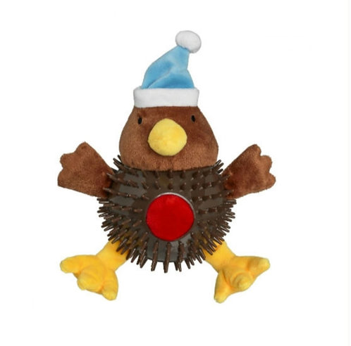 Christmas Robin Bobbly Toy with Spiky Body