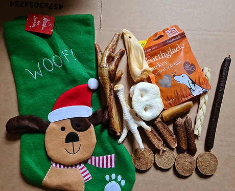 Christmas Stocking with Natural Chews and Toy