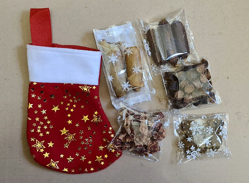 Mini Stocking with 5 Packs of  Natural Treats