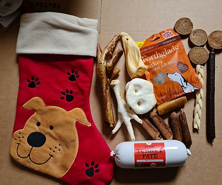 Red Large Christmas Stocking Filled with Natural Treats