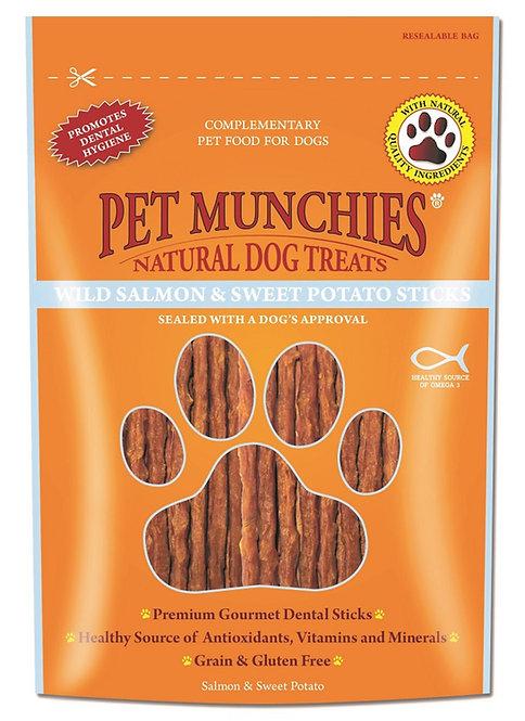 Pet Munchies Wild Salmon and Sweet Potato Sticks Natural Dog Treats - 90g