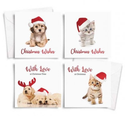 Square Photographic Christmas Cards Dogs /Cats 10 Pack