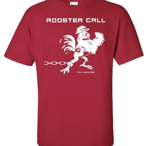White on Red Rooster Call T-Shirt