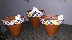 vaso de ceramica para parede com mosaico