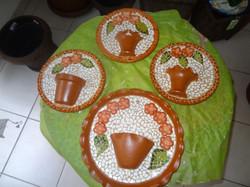 pratos de ceramica para parede com mosaico