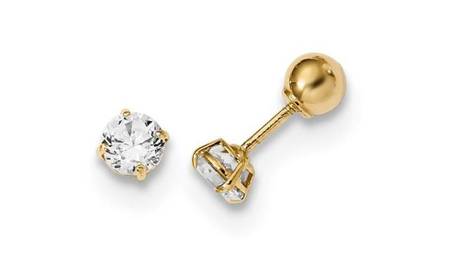 4 mm 14K Yellow Gold Madi K Polished Reversible Ball & CZ Earrings Pair