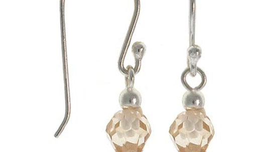 Sterling Silver Champagne CZ Dangle Earrings