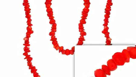 """Pink Genuine Sea Bamboo Coral Chip One Strand Layer Necklace 36"""""""