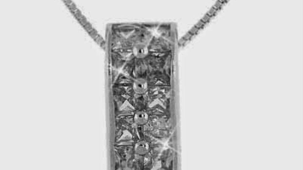 Sterling Silver Simulated Diamond CZ CZ Rectangle Pendant